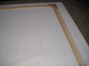DIY Projector Screen - Laying out the blackout cloth